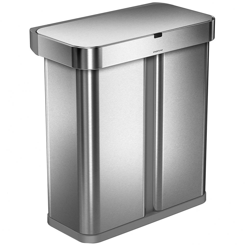 Bezdotykový koš Simplehuman RECTANGULAR 58L tříděný odpad - silver