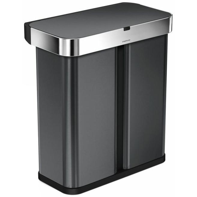 Bezdotykový koš Simplehuman RECTANGULAR 58L tříděný odpad - black