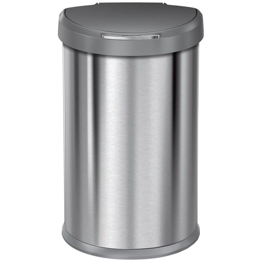 Bezdotykový koš Simplehuman SEMI-ROUND 45L s plastovým víkem - silver
