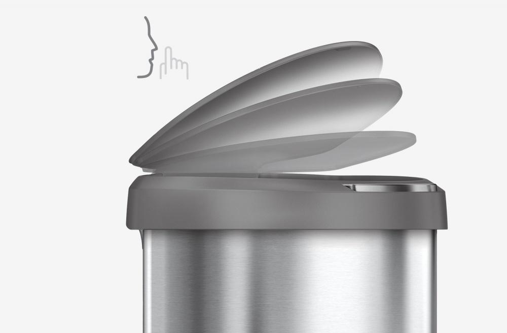 koš Simplehuman SEMI-ROUND 45L s plast. víkem silver