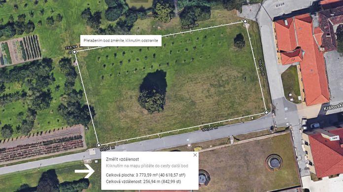 jak změřit plochu zahrady mapy google