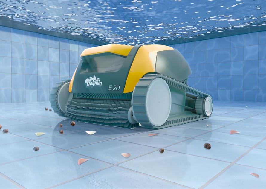 Dolphin E20 čistí dno i stěny bazénu