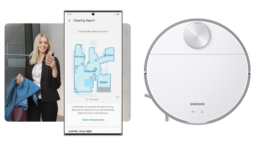 Samsung Jet Bot VR30T80313W/GE sledování průběhu čištění
