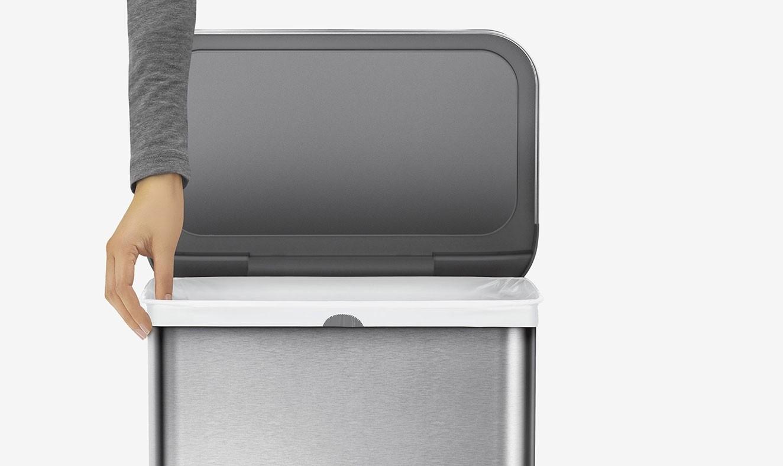 odpadkový senzorový koš Simplehuman RECTANGULAR 58L nerezový na tříděný odpad - black