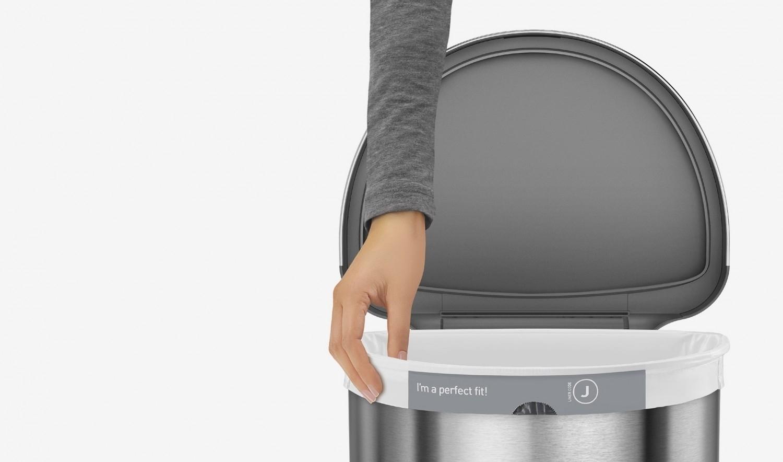 odpadkový senzorový koš Simplehuman půlkulatý 45L nerezový