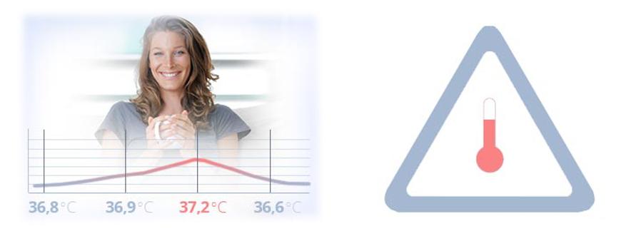 TrueLife CARE Q7 Blue upozornění na zvýšenou teplotu